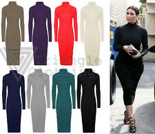 Womens Long Sleeve Polo Neck Dress Plain Stretch Midi Roll Neck Celeb Look