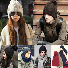 Herren Damen Stylisch Winter-Beanie Bommel Warm Strickmütze -UK Verkäufer