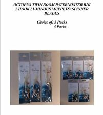 MINI OCTOPUS TWIN BOOM PATERNOSTER RIG 2 HOOK LUMINOUS MUPPETS/SPINNER BLADES