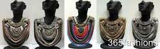 STATEMENT CHAIN DRAPE TRIBAL CRYSTAL GLAM BIB FRONT AZTEC NECKLACE