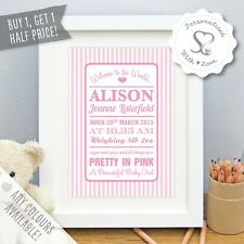 Personalised New Baby Birth Christening Candy Stripe Print/Framed Gift Boy Girl
