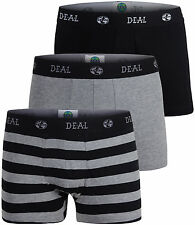 "DEAL Herren Retro-Pants/Trunks 3er Pack ""Streifen/Uni"" schwarz, S M L XL XXL"