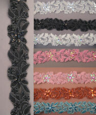 "Handmade Embroidered Corded beaded Edging Motifs trim 1 1/2 "" width ( 9 Col ) #6"