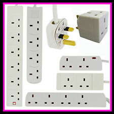 2 4 6 GANG WAY UK PLUG EXTENSION LEAD CABLE SOCKET CE MARKED MAINS MULTI PLUGS