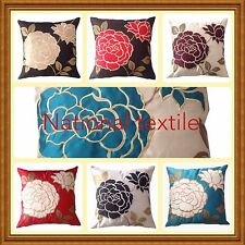"Fresco Embroidered Floral Leaf Luxury Quality Cushion Covers (18""*18"")"