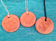 TERRACOTTA Clay Diffuser AROMATHERAPY Flower PENDANT & Essential Oil Blend