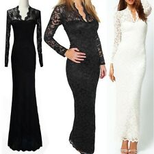 Ladies lace evening summer maxi bodycon prom long Evening party dress Size 10-12