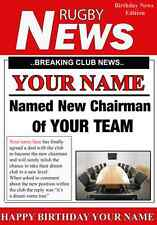 A5 Personalised ANY RUGBY Chairman League Greeting Birthday Card PIDRUGBY sport