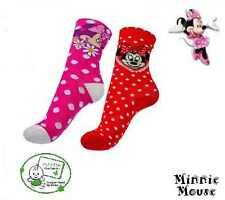 Disney Chica Minnie Mouse Calcetines Rojo Blanco Corazoncitos Rosa Floral 23-38