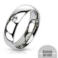 Classic Ladies Ring Silver Polished Zirconia 9 Size Stainless Steel Jewelry