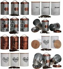 Tea Coffee Sugar Kitchen Storage Canister Jars Pots Containers Set Air Tight Lid