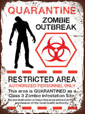 vintage grunge style Zombie funny decorative Metal Sign tin wall door plaque