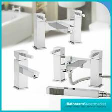 Modern Chrome Taps Pure Bathroom Sink Basin Mixer Bath Filler Tap & Waste