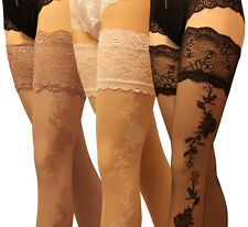 Sensuous 13 cm Deep Lace Top Patterned Hold ups stockings 20 Denier Hold Ups