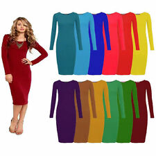 LADIES WOMENS LONG SLEEVE STRETCH BODYCON PLAIN JERSEY MIDI DRESS PLUS SIZE 8-26
