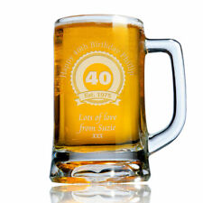 Personalised Engraved Beer Pint Glass Tankard 40th 50th 60th Birthday Gift Boxed