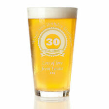 Engraved Beer Pint Glass 30th 40th 50th Personalised Birthday Gift Boxed Present