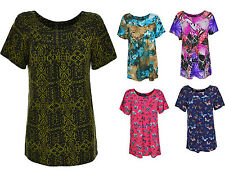 Ladies Short Sleeve Butterfly Floral Print Tunic Women's Print Top 14-28