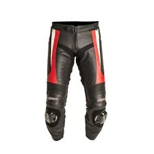 RST Blade Leather Motorcycle Motorbike Trousers Red Regular Leg + Sliders New