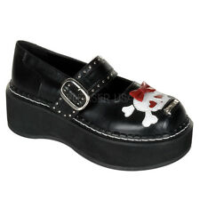 DEMONIA EMILY 221  Goth Punk Lolita  Mary Jane Black Shoes Bow Skull Heart
