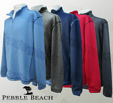 Mens Pebble Beach Pullover Golf Jumper 1/4 Zip Wicking Red Blue Black S M L XL