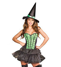 Sexy Witch Halloween Costume & Hat Fancy Dress Outfit Size 10-16