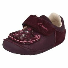 Clarks Girls Little Ditz Purple Suede Strap First Shoe Cruisers F & G Fit