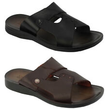 Mens Real Leather Brown Black Slide Sandals Summer Holiday Beach Flip Flop Mules
