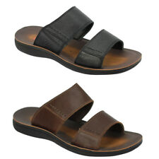 Mens Leather Black Brown Big Size Summer Mules Flip Flops Sandals Beach Slippers