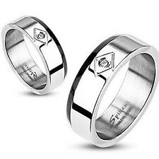 Mens Ladies Ring Silver 9 Size Zirconia Black Line New Jewelry by allforyou