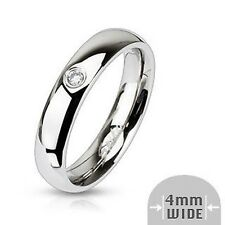 Classic Ladies Ring Silver Polished Zirconia 8 Size Stainless Steel Jewelry