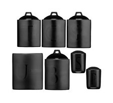Black Ceramic Text Jars Tea Coffee Sugar Canisters Utensil Biscuit Salt Pepper