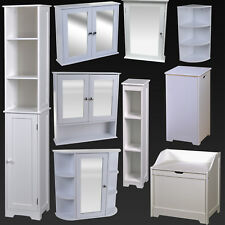 WHITE BATHROOM FURNITURE CABINET SHELVING LAUNDRY BIN MIRROR DOOR MEDICINE SINK
