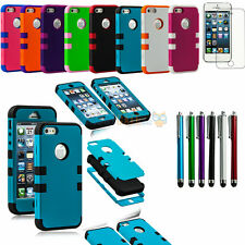 Triple Layer Hybrid High Impact Silicone Rubber Case For iPhone 5 5G 5S + Gifts