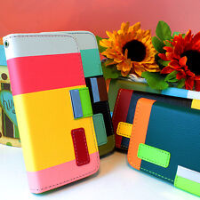 For Apple iPhone 5C Hybrid PU Leather Wallet Flip Pouch Case Cover w/Stand