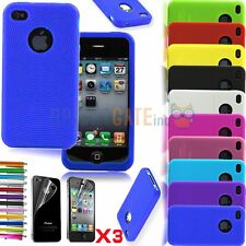 iPhone 4 4S Soft Rubber Silicone Case Cover Textured Lines Circle+3pcs Films Set