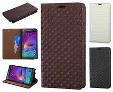 For Samsung Galaxy Note 4 Leather Wallet Pouch Textured Flip Case + Screen Guard