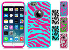 For Apple iPhone 6 Plus 5.5 HARD Hybrid Zebra Fusion Rubber Case Cover Accessory