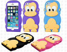 Apple iPhone 5 5S Rubber SILICONE Skin Soft Gel Case Cover Monkey + Screen Guard