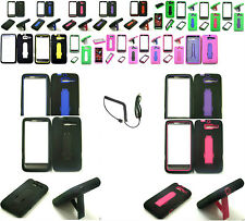 i-Stand Hybrid Kickstand Case+Car Charger For Motorola Droid RAZR M XT907 Phone