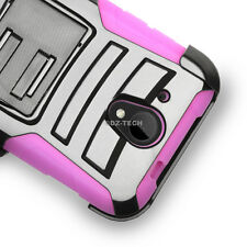 For HTC Desire 520 Cricket Rugged Hybrid Hard Case Cover Belt Clip Hol