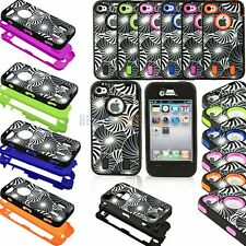 Heavy Duty Hybrid Swirl Pattern Bumper Shockproof Hard Soft Case for iPhone 4 4S