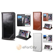"For iPhone 6 Plus 5.5"" Genuine Leather Flip Wallet Credit Card Stand Case Cover"