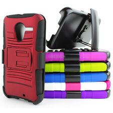 For Motorola Moto X Rugged Hybrid Aromr Hard Case Cover Belt Clip Hols
