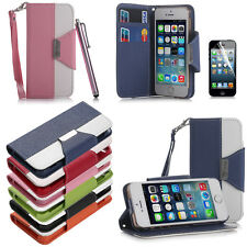 PU Leather Flip Pouch Wallet Stand Case Cover For iPhone 5 5S + Screen Protecto