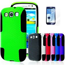 For SAMSUNG GALAXY S III S3 Rubber Hybrid Mesh Combo Hard Case Cover i9300 +Fil