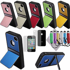For iPhone 4 4S Aluminum Chrome Steel Hard Cover Case w, Screen Protec