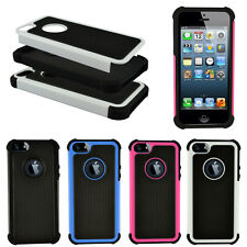 Dual Layer Hybrid Silicone Rugged Rubber Black Hard Case Cover For iPhone 5 5S