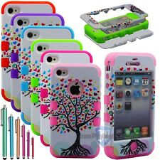 Tree of Love Hybrid Rugged Rubber Matte Hard Case Cover For iPhone 4G
