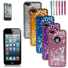 Luxury Crystal Brushed Aluminum Chrome Hard Case Cover for iPhone 5S +